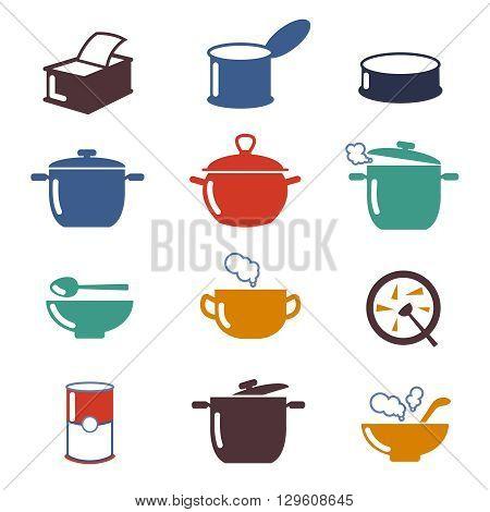 Color soup vector icons. Utensil pan soup, cooking soup, color bowl soup illustration