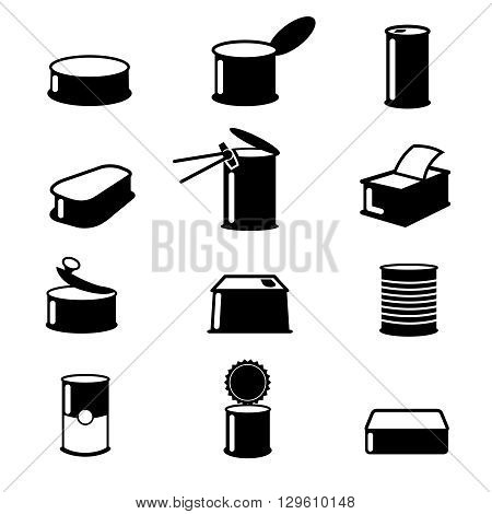 Cans food, canned goods vector icons. Food cans illustration, container cans food isolated, aluminum open cans food