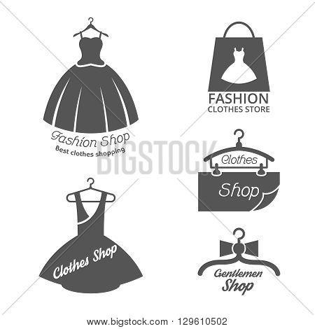 Fashion shop vector logos, labels set. shop fashion label, icon fashion shop, logo fashion shop illustration
