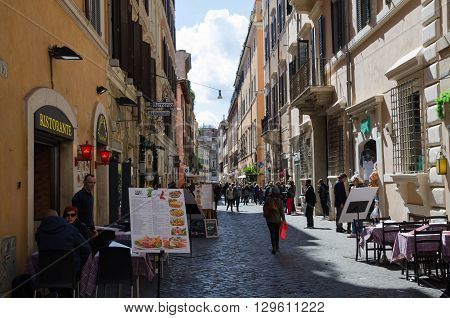 ROME, ITALY - APRIL 25:  Street view from Via della Croce in Rome Italy, April 25, 2016