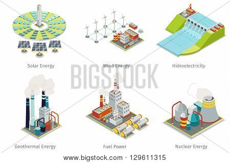 Power plant icons. Electricity generation plants and sources. Electricity energy, hydroelectricity energy, geothermal energy, solar and wind energy. Vector illustration