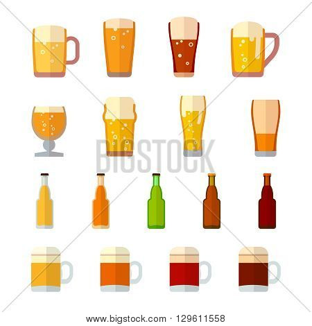 Beer vector icons in flat style. Beer drink,  beer glass, beer mug, beer lager, beer beverage bottle illustration