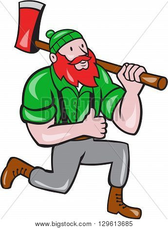 Illustration of a Paul Bunyan an American lumberjack sawyer forest holding an axe on shoulder kneeling with thumbs up set on isolated white background done in cartoon style.