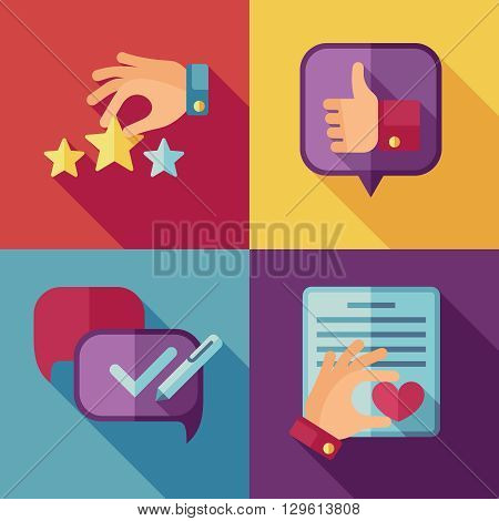 Customer service concept background in flat style. Customer icon, success quality service, feedback client service, support service customer. Vector illustration