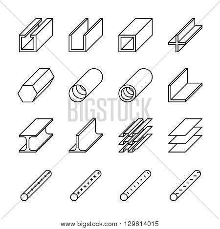 Rolled metal product icons. Rolled metal vector pictograms. Metal construction, steel metal industry, iron metal material, product metal pipe, metallurgy metal icon illustration
