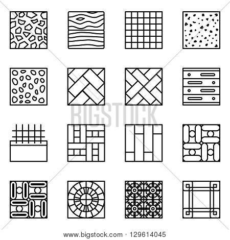 Floor material line vector icons. Material floor icon, construction material floor building, tile material floor, parquet material floor  set illustration