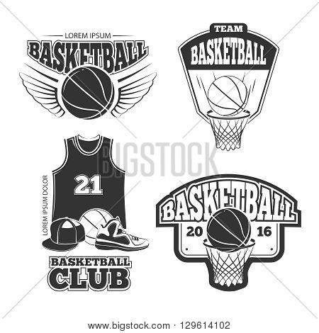 Vintage basketball vector vintage emblems, labels, badges, logos set. Basketball badge, basketball emblem, basketball label illustration