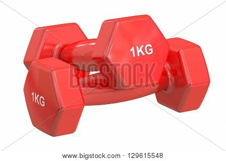 Red Dumbbells 1 kg isolated on white background