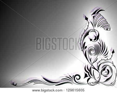 Abstract black and white tattoo ornament with lights in the corner of the picture, vector illustration