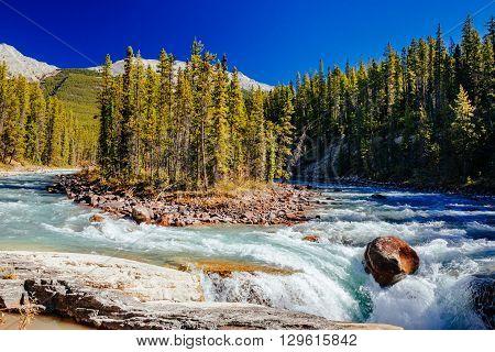 Sunwapta Falls, Jasper National Park In Alberta, Canada