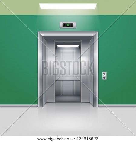 Realistic Empty Elevator with Half Open Door in Green Lobby