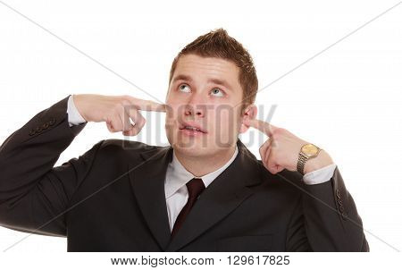 Nerdy business man guy covering his ears funny expressions isolated on white background