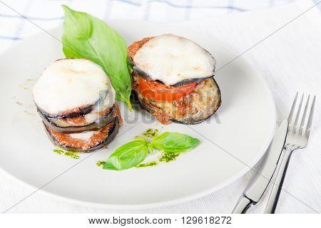 Parmigiana di melanzane: baked eggplant - italy, sicily cousine. Stock image.