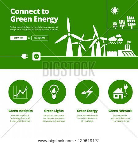 Connect to green energy illustration and services icons for one page website design