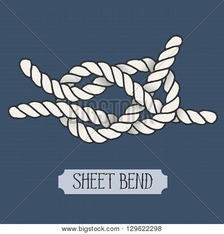 Single illustration of nautical knot. Sheet Bend. Sailor knot. Nautical rope sign. Artistic hand drawn element. Marine rope knot. Tying the knot. Graphic design element for invitations, cards, logo