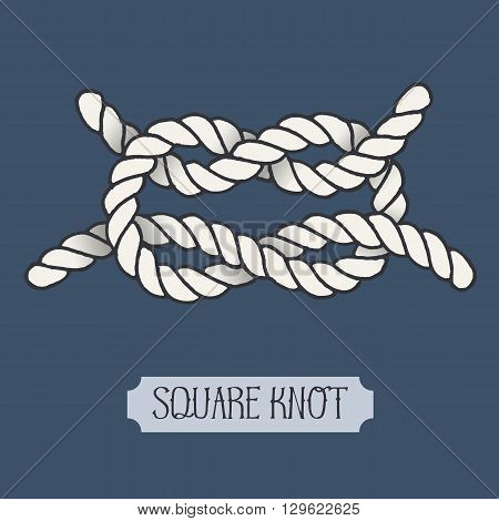Single illustration of nautical knot. Square Knot. Sailor knot. Nautical rope sign. Artistic hand drawn element. Marine rope knot. Tying the knot. Graphic design element for invitations, cards, logo