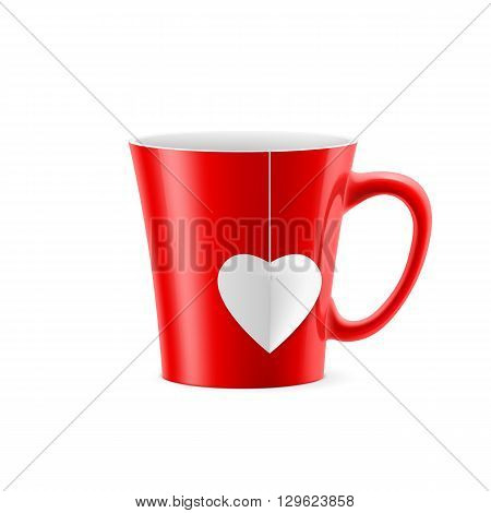 Red cup with tapered bottom with a tea bag in the form of heart