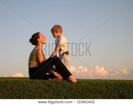 mother with son on sundown poster