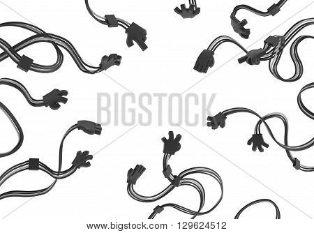 Electronic black wired arms extending isolated 3d illustration horizontal