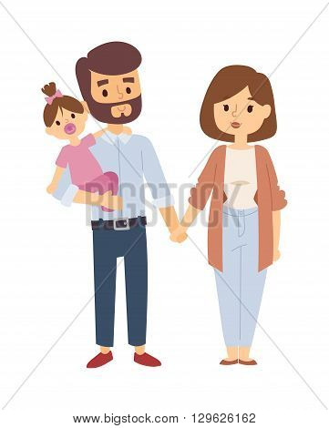 Beautiful young family portrait and happy family portrait. Family portrait togetherness smiling man beautiful, woman cute baby family portrait. Family portrait parents adult cheerful people.