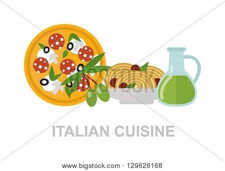 Some ingredients of Italian cuisine. Italian cuisine. Italian food italian pizza, delicious pasta, olive oil italian food. Healthy mediterranean sauce, spaghetti Italian food nutrition vegetarian.