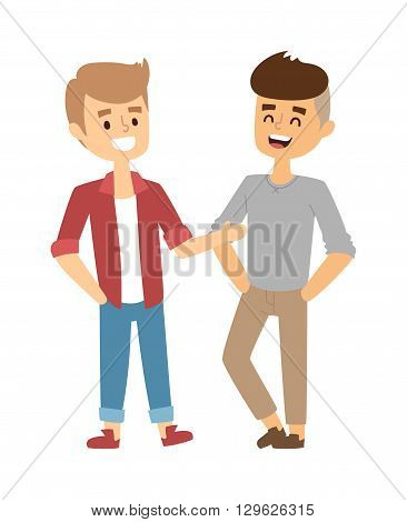 Two friendly male mature students chatting and two friends together. People young together two friends and lifestyle adult two friends. Beautiful character two friends and couple young friendly boy.