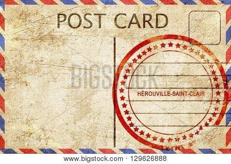 herouville-saint-clair, vintage postcard with a rough rubber sta