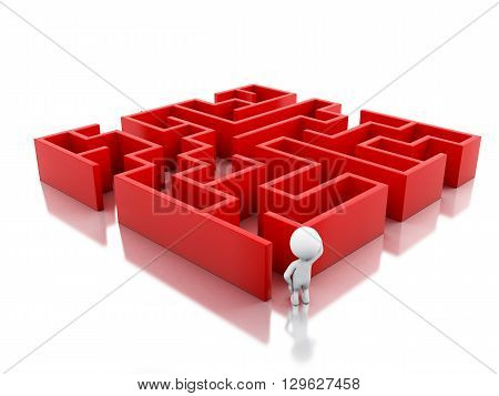 3d renderer image. White people with a red maze. Success challenge. Isolated white background.