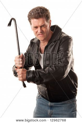 Angry Man Holding A Crowbar