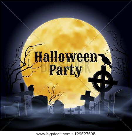 Misty graveyard with crooked crosses and an evil raven under full Moon. Halloween Party poster in Gothic style.