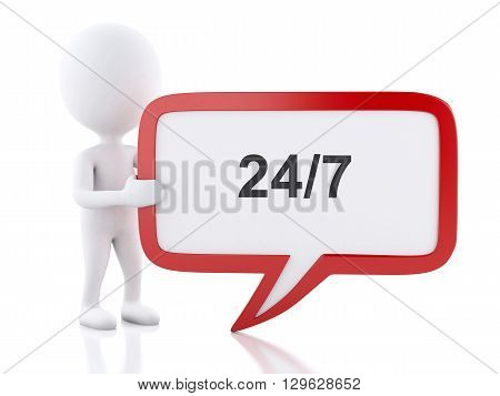 3d renderer image. White people with speech bubble with 24/7. Business concept. Isolated white background.