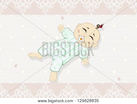 Newborn baby. The vector illustration of the Newborn baby with Pacifier - Design Greeting Card, Invitation.