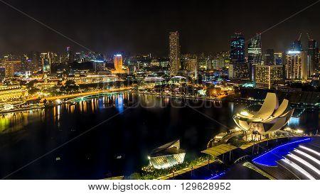 Night scene of Singapore Marina Bay district