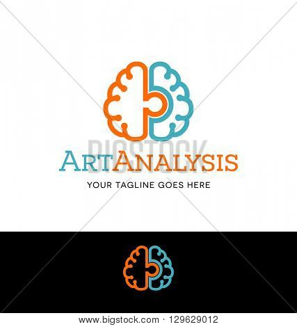right and left brain connected logo for business, organization or website
