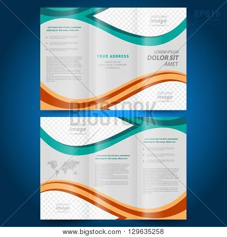brochure design template vector folder leaflet geometric abstract grach diagram blue line grey background block for images. mock-up is no effect no transparent