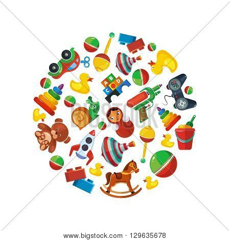 Toys icons for kids isolate on white background. Toys vector illustrations pack. Cartoon toys set in circle shape