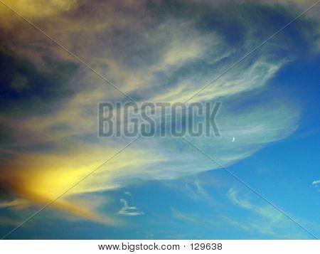 poster of wispy clouds in aqua sky