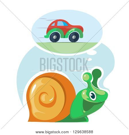 Fast speedy snail dreams to move as the cars. Moving quickly. Success, haste, speed, efficiency, performance and creativity concept. Vector illustration on light background