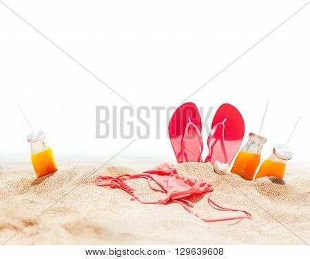 Summer Holidays Beach Seashore Accessories Sand Juice Bikini Slippers Isolated in White