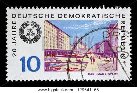 ZAGREB, CROATIA - JULY 02: a stamp printed in GDR shows View of Karl Marx Stadt, circa 1969, on July 02, 2014, Zagreb, Croatia