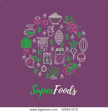 Acai, cocoa, goji, guarana, spirulina, coconut, quinoa, camu camu. Organic superfoods for health and diet. Detox and weightloss supplements.
