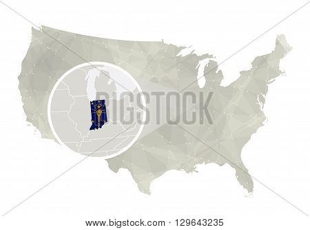 Polygonal Abstract Usa Map With Magnified Indiana State.