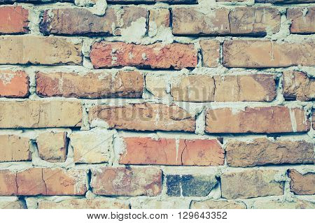 Red brick wall background. Brick wall texture. Brown brick wall background. Vintage texture brick background. Background of brick wall. Brick background. Horizontal architecture wallpaper. Close up.
