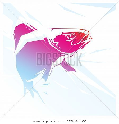 Vector illustration with a red fish Piranha