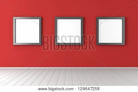 Three black frames on the white red wall 3D render