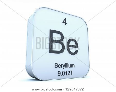 Beryllium element on white square icon on white background 3D rendering