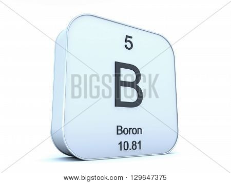 Boron element on white square icon on white background 3D rendering
