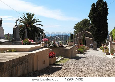 Provence, France - May 22: There is the graveyard in village Saint-Paul de Vence May 22, 2015 in Provence, France.