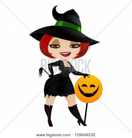 Witch isolated on white background. Cute girl witch in a cartoon style. Vector illustration.