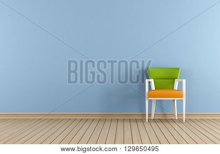 Blue Room With Colorful Chair